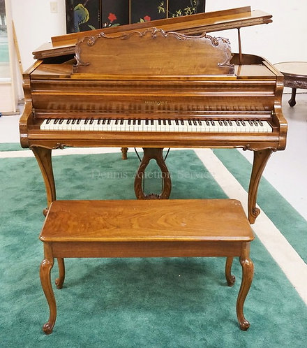 KRANICH & BACH BABY GRAND PIANO WITH CARVED LEGS AND TRIM. 57 INCHES WIDE. 62 IN
