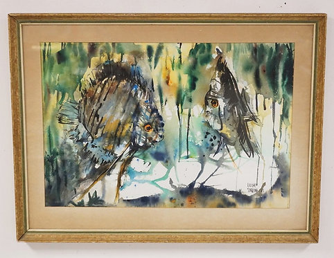 LILLIAN SPERLING MID CENTURY WATERCOLOR OF FISH. SIGNED AND DATED 1963. 21 1/4 X