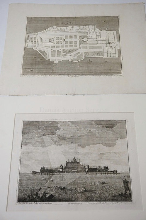 MARC ANTONIO DAL RE. 2 ETCHINGS OF ISOLA BELLA. IMPRESSIONS ARE 15 5/8 X 12 INCH