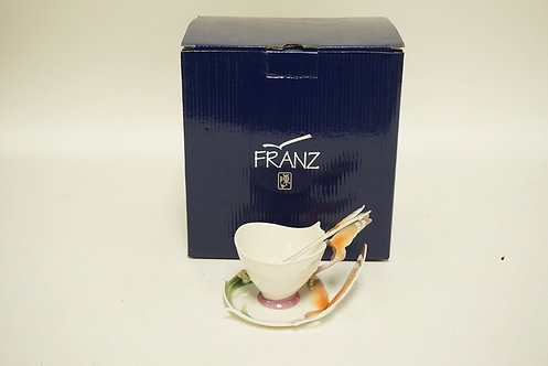 FRANZ PORCELAIN BUTTERFLY PATTERN CUP, SAUCER, AND SPOON SET. COMES IN THE ORIGI