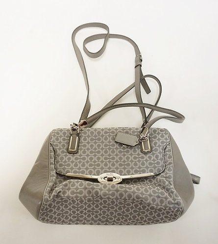 GRAY COACH PURSE. APP 13 IN WIDE, 7 IN H. GENTLY USED
