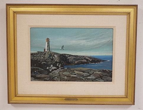 STANLEY M. ZUCKERBERG (1919-1995) OIL PAINTING ON BOARD TITLED *NOVA SCOTIA LIGH