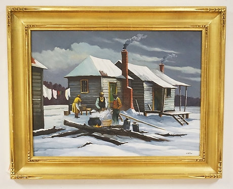 AUGUST WEISS OIL PAINTING ON MASONITE TITLED *TENANT FARM WINTER*. SIGNED LOWER