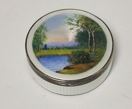 STERLING SILVER BOX WITH GUILLOCHE ENAMEL & HAND PAINTED DECORATION INCLUDING A