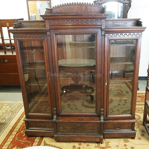 VICTORIAN WALNUT BOOKCASE WITH GLASS DOORS, CARVED ACCENTS, AND BURLED PANELS. 6