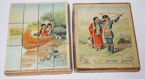 B. R. GILMOUR PICTURE BLOCK SET IN ORIGINAL BOX. NATIVE AMERICAN BOY AND GIRL. 1