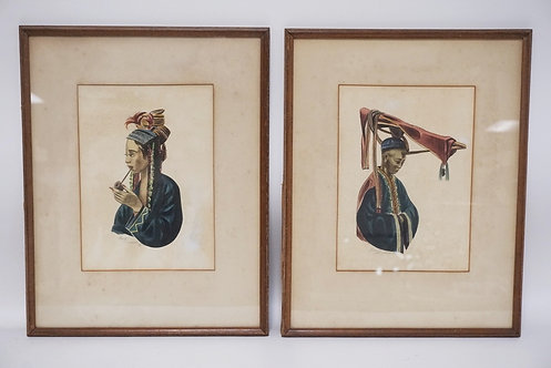 2 PENCIL SIGNED WATERCOLORS. DATED 1945. 8 X 11 1/4 INCH SIGHT SIZE.