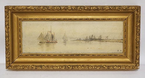 ANTIQUE OIL PAINTING ON BOARD OF SAILING SHIPS NEAR A SHORLINE. INITIALED LOWER