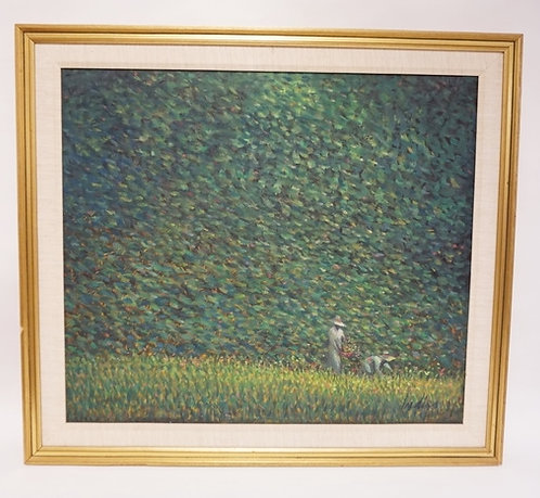 IMOPRESSIONIST OIL PAINTING ON CANVAS OF 2 WOMEN IN A FIELD. SIGNED LOWER RIGHT.