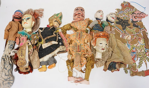 GROUPING OF MIDDLE EASTERN/ASIAN MARIONETTES. TALLEST IS 26 INCHES.