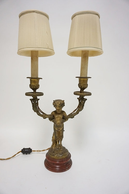 BRONZE FIGURAL 2 LIGHT LAMP. SATYR ON A RED MARBLE BASE. 18 1/2 IN H