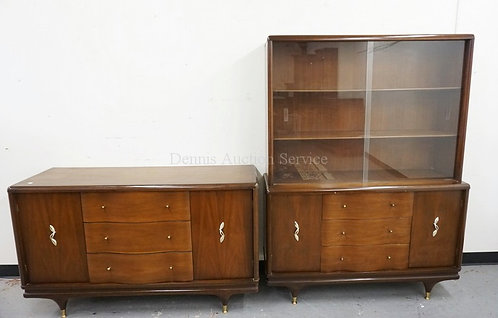 2 PIECE MID CENTURY MODERN DINING ROOM FURNITURE. A CHINA CABINET AND A SIDEBOAR