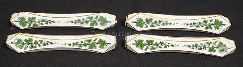 SET OF 4 MEISSEN PORCELAIN KNIFE RESTS. DECORATED WITH GREEN VINE AND GOLD TRIM.