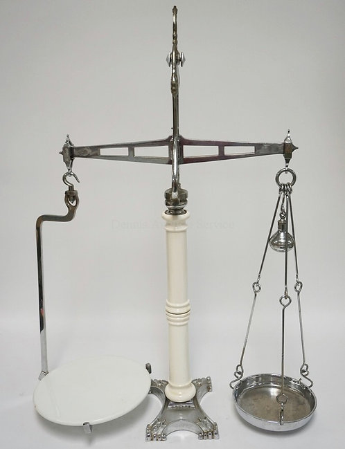 HUNT & COMPANY LONDON BALANCE SCALE COMPOSED OF NICKEL PLATED IRON AND PORCELAIN