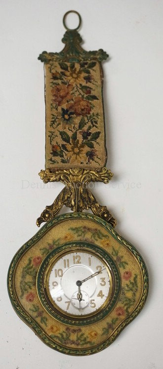 ANTIQUE AUSTRIAN KEY WIND PENDANT CLOCK WITH A TAPESTRY HANGER. 10 1/4 INCHES LO