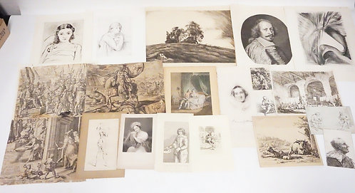 LOT OF 20 ANTIQUE ETCHINGS. SOME PENCIL SIGNED, SOME VERY EARLY. LARGEST PLATEMA