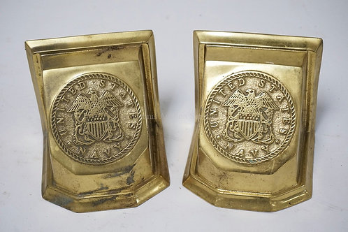 VIRGINIA METALCRAFTERS HEAVY CAST BRASS BOOKENDS WITH THE SEAL OF THE UNITED STA