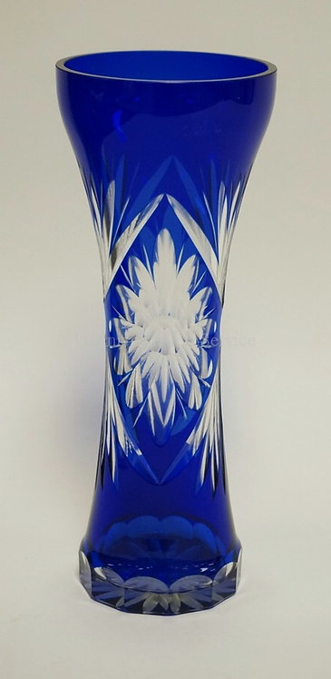COBALT BLUE CUT TO CLEAR CRYSTAL VASE MEASURING 11 INCHES HIGH.