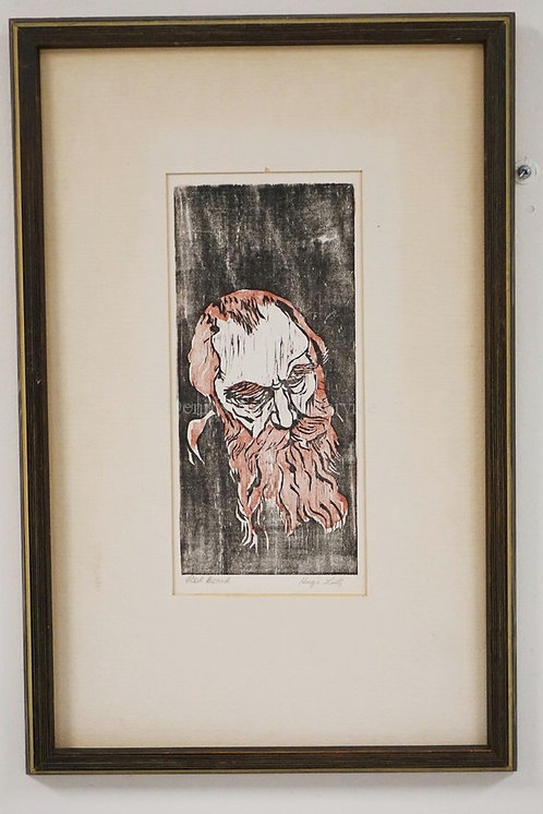 HUGO LUTZ PRINT TITLED *RED BEARD*. 5 X 11 1/4 SIGHT SIZE.