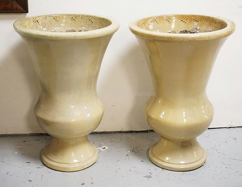 PAIR OF LARGE POTTERY PLANTERS. 31 INCHES HIGH.