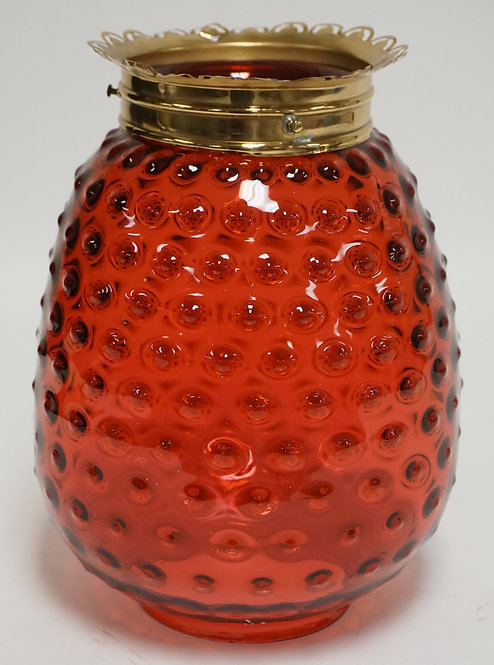 CRANBERRY GLASS HALL SHADE. HOBNAIL. 10 1/2 INCHES HIGH.