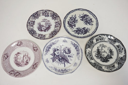 LOT OF 5 ANTIQUE TRANSFERWARE PLATES. LARGEST IS 9 1/4 INCHES.
