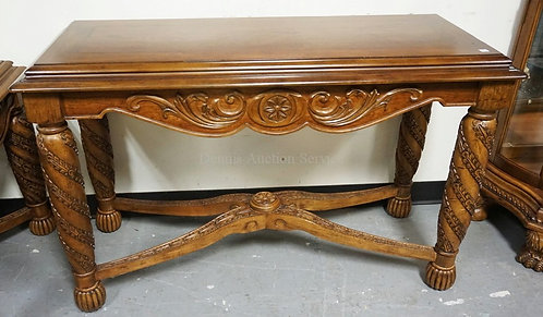 ORNATELY CARVED CONSOLE TABLE WITH A STRETCHER BASE. 20 X 48 INCH TOP. 30 INCHES