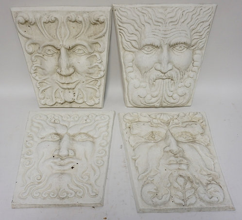 SET OF 4 ALUMINUM ARCHITECTURAL PLAQUES WITH NORTHWIND TYPE FACES. 15 1/4 X 13 3