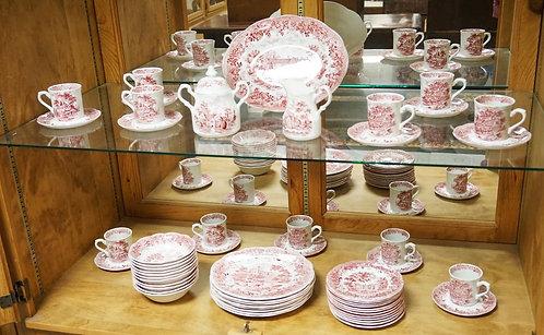 58 PIECES J&G MEAKIN ENGLAND *ROMANTIC ENGLAND* RED TRANSFERWARE DINNERWARE.