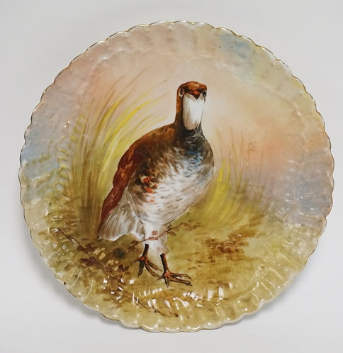LIMOGES FRANCE HAND PAINTED PLATE DECORATED WITH A GAME BIRD. 11 INCH DIA.