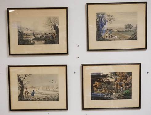 SET OF 4 GAME HUNTING PRINTS BY R. HAVELL. TITLES INCLUDE WILD DUCK SHOOTING, SN