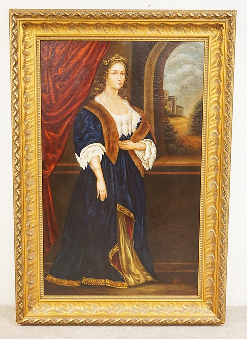 LARGE OIL PAINTING ON CANVAS OF A ROYAL WOMAN WEARING A CROWN ALONG WTH A FANCY