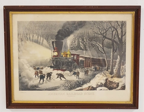CURRIER & IVES *AMERICAN RAILROAD SCENE - SNOWBOUND*. 17 1/2 X 13 1/2 INCH FRAME