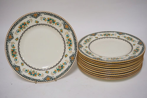 LOT OF 11 ROYAL DOULTON PLATES. 9 INCH DIA. ENAMEL DECOFRATED.