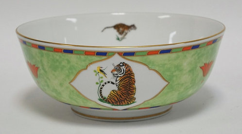 LYNN CHASE *TIGER RAJ* SERVING BOWL MEASURING 9 3/8 INCHES IN DIA AND 3 3/4 INCH