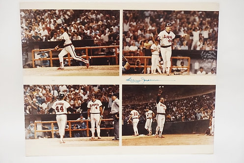 LARGE FOUR SCENE PHOTO GOUPING OF REGGIE JACKSON. SIGNED IN BLUE INK. 20 X 16 IN