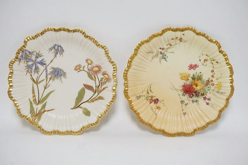 LOT OF ANTIQUE HAND PAINTED ROYAL WORCESTER PORCELAIN PLATES. 8 3/8 INCH DIA.