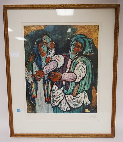 REUVEN RUBIN LIMITED EDITION PRINT OF A COUPLE AND A CHILD. PENCIL SIGNED AND NU