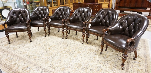 SET OF 6 TUFFTED BACK LEATHER ARM CHAIRS. WITH LEATHER WEAR ON SOME OF THE CHAIR