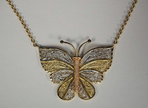 14K YELLOW AND WHITE GOLD BUTTERFLY PENDANT AND NECKLACE. 3.75 DWT.