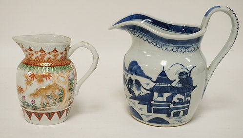 2 PIECES OF ASIAN PORCELAIN. A CANTON PITCHER AND A SMALLER PITCHER DECORATED WI