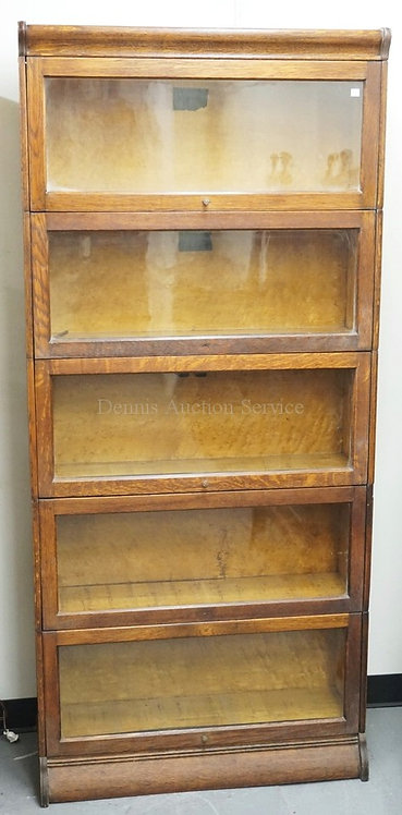 OAK 5 STACK BARRISTER BOOKCASE WITH BASE AND TOP. 76 INCHES HIGH. 34 INCHES WIDE