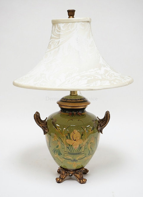 CERAMIC TABLE LAMP PAINT DECORATED WITH FLOWERS. 23 INCHES HIGH.