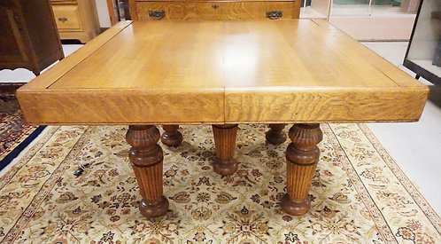ANTIQUE OAK TAMBOUR ROLL TOP EXTENSION TABLE. 77 3/4 X 48 INCH TOP.