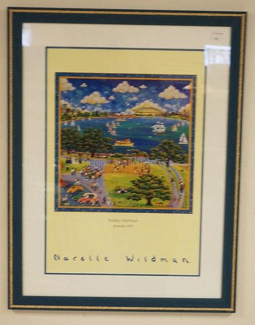 NARELLE WILDMAN GALLERY PRINT OF SYDNEY HARBOUR, AUSTRALIA 1992. FRAMED AND MATT