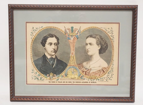 COLORED ENGRAVING OF *THE PRINCE OF WALES AND HIS BRIDE, THE PRINCESS ALEXANDRA