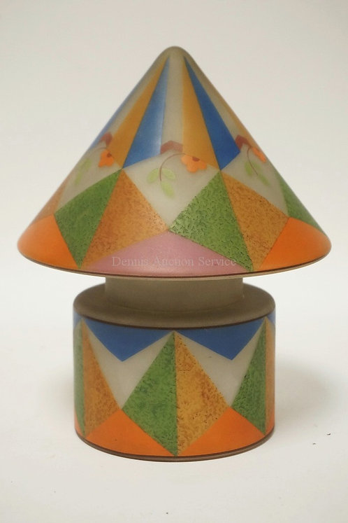 BELLOVA ART DECO GLASS LAMP. SATIN WITH COLORFUL GEOMETRIC DESIGNS AND FLOWERS.