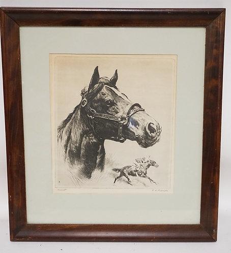 REINHOLD PALENSKE ETCHING OF A HORSE. TITLED *ASSAULT*. ASSAULT WAS A TRIPL;E CR
