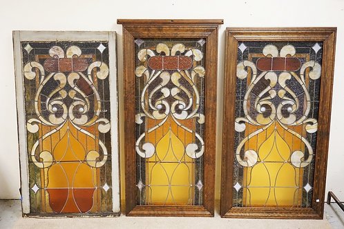 SET OF 3 MATCHING LEADED GLASS WINDOWS WITH FACETED BULLSEYES. LARGEST IS 58 X 3