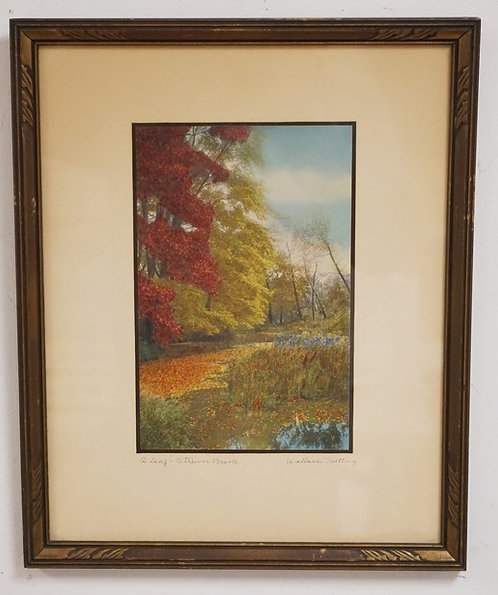 1215_WALLACE NUTTING *A LEAF STREWN BROOK* HAND COLORED PRINT. 6 X 9 1/2 INCHES.